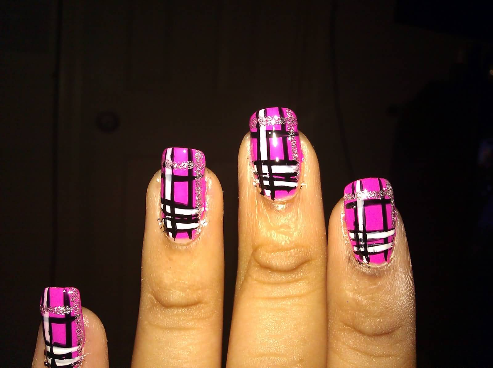 Cute Bright Pink Plaid Nail Design