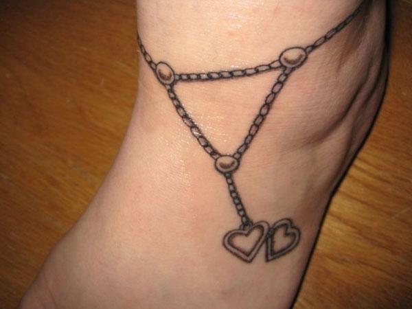 20 heart ankle bracelet tattoo. Black Bedroom Furniture Sets. Home Design Ideas