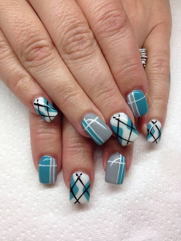 Cute Plaids Design Nail Art