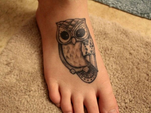 Cute owl tattoos on foot - photo#19