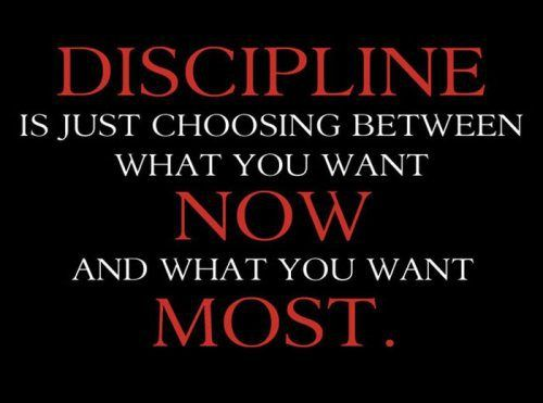 Discipline is choosing between what you want now and what you want most. Augusta F. Kantra