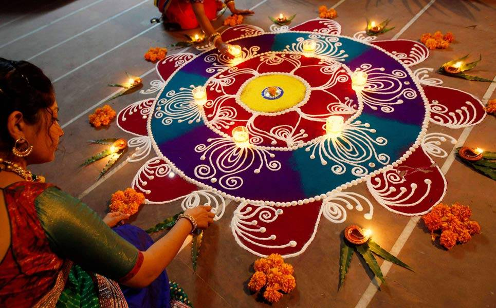 Diwali Decorations In Home Part - 38: Diwali Rangoli Decoration Idea For Office