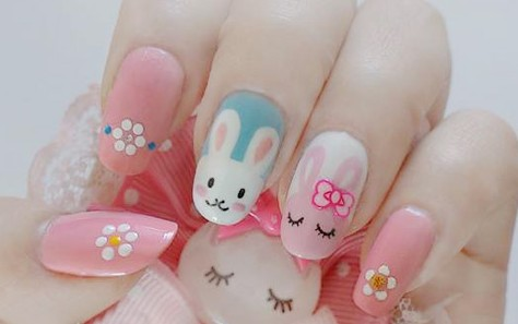 Easter Bunnies And Flowers Nail Art - 35 Beautiful Easter Nail Art Design Ideas For Trendy Girls