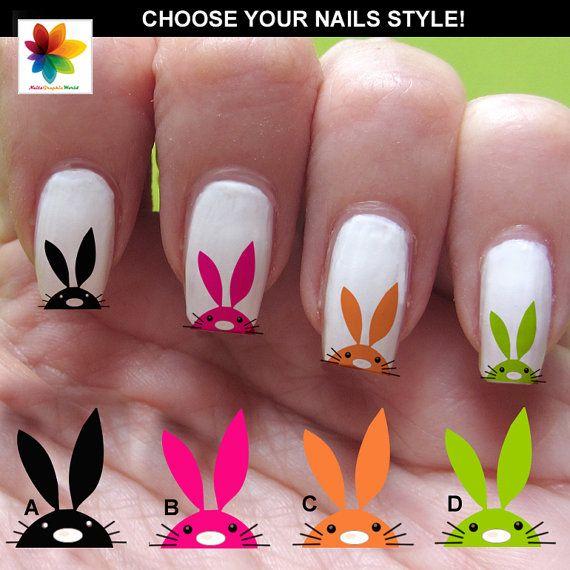 Easter Bunnies Tip Design Nail Art