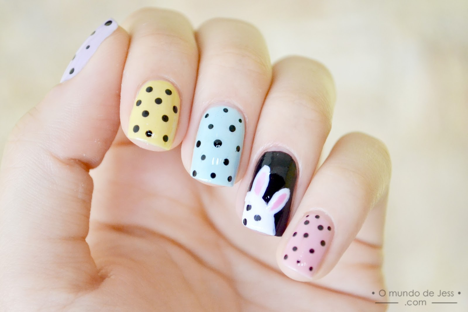 Easter Bunny And Black Dots Nail Art Design