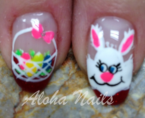 Easter Bunny And Eggs Basket Nail Art