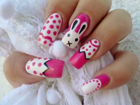 Easter Bunny And Pink Eggs Nail Art
