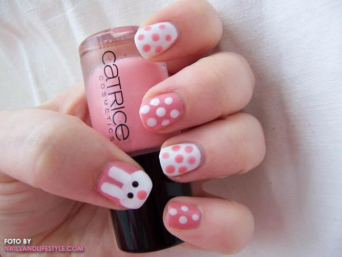 Easter Bunny And Polka Dots Nail Art