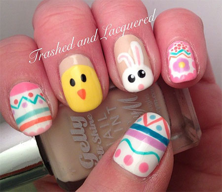 Easter Bunny Chick And Eggs Nail Art