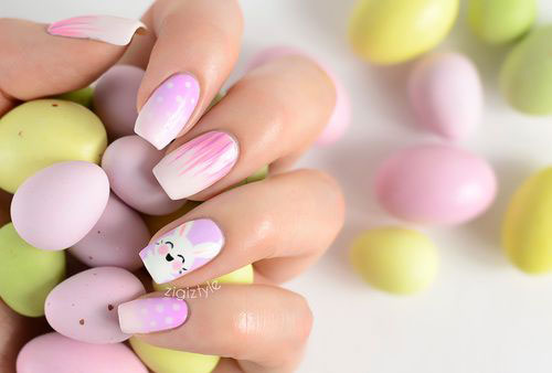 Easter Bunny Face Nail Art