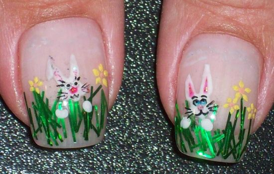 Easter Bunny In Green Grass Nail Art