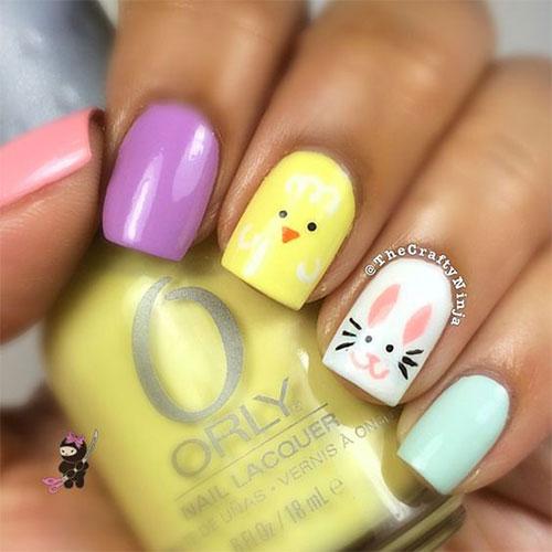 Easter Bunny Nail Art Design Idea
