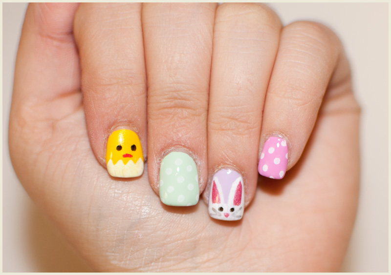 Easter Bunny With Dots Design Nail Art