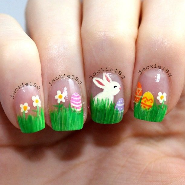 Easter Bunny With Eggs And Flowers Nail Art - 60 Incredible Easter Nail Art Ideas