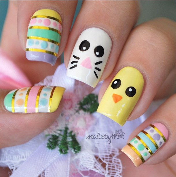 Easter Bunny With Golden Stripes Design Nail Art