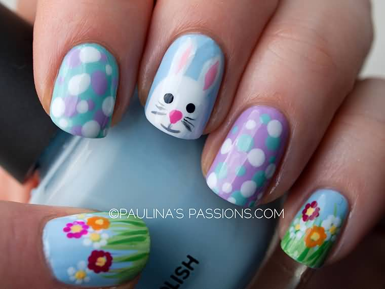Easter Bunny With Polka Dots And Flowers Nail Art