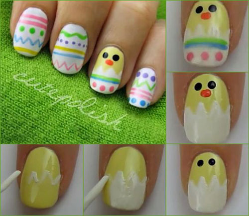 Easter Chick And Eggs Nail Art Tutorial