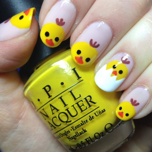 Easter Chick Out Of Egg Nail Art