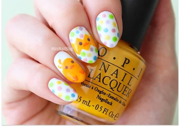 Easter Chicks And Polka Dots Design Nail Art