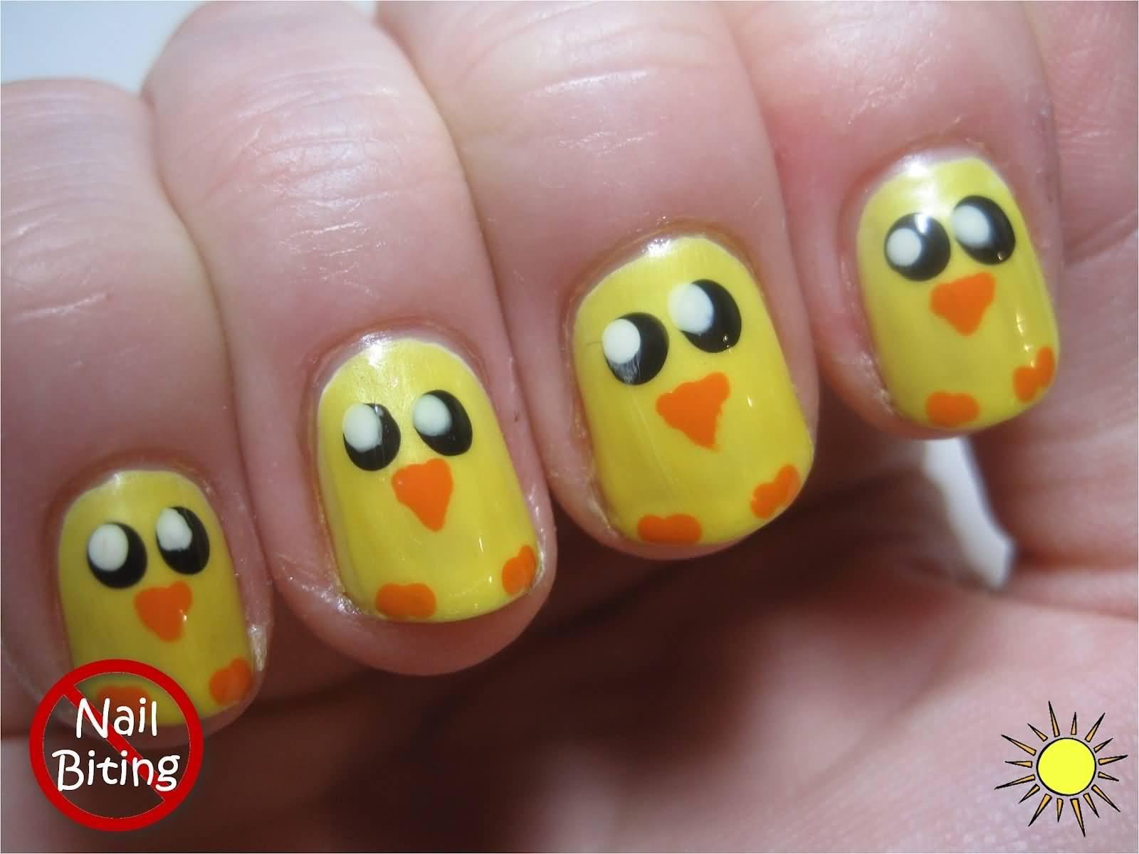 Easter Chicks Nail Art Design