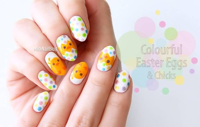 Easter Egg And Chicks Nail Art