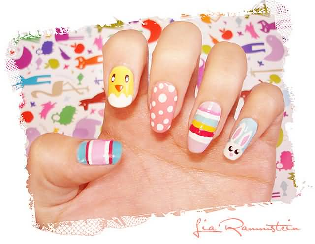 Easter Egg, Chick And Bunny Nail Art