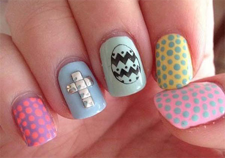 Easter Egg With Polka Dots And Silver Studs Cross Design Nail Art