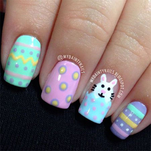 Easter Eggs And Bunny Nail Art Design Idea