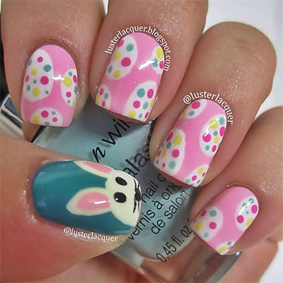 Easter Eggs And Bunny Nail Design Idea