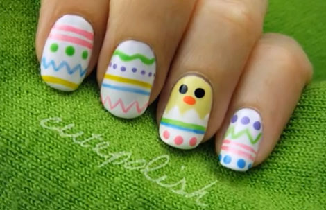 Easter Eggs And Chick Nail Art