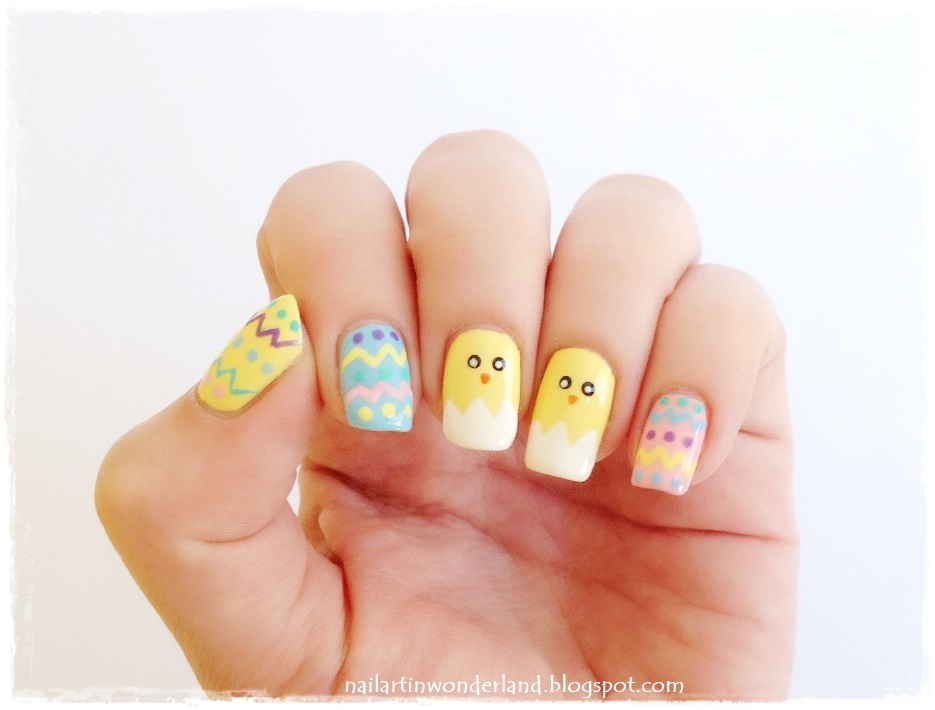 Easter Eggs And Chicks Nail Art Design Idea