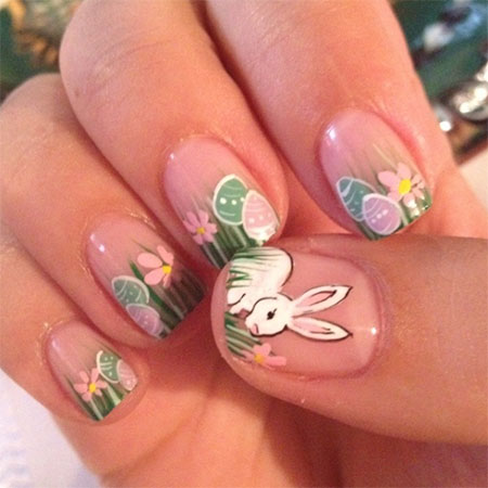Easy Easter Bunny Nail Art Design Ideas
