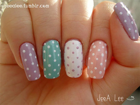 Easy Spring Dots Design Nail Art - 60 Most Beautiful Spring Nail Art Designs