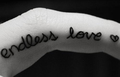 c23ea1b09b95d Endless Love Word Finger Tattoo