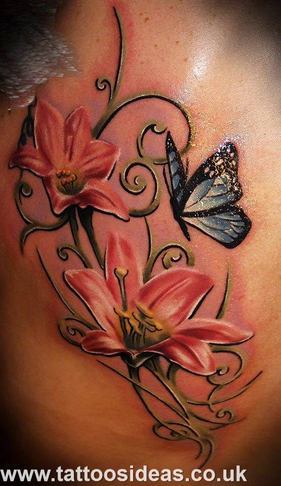 55 butterfly flower tattoos. Black Bedroom Furniture Sets. Home Design Ideas