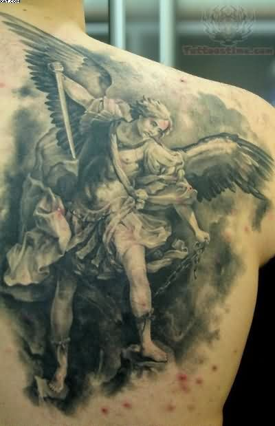 65 angel tattoos for men shoulder. Black Bedroom Furniture Sets. Home Design Ideas