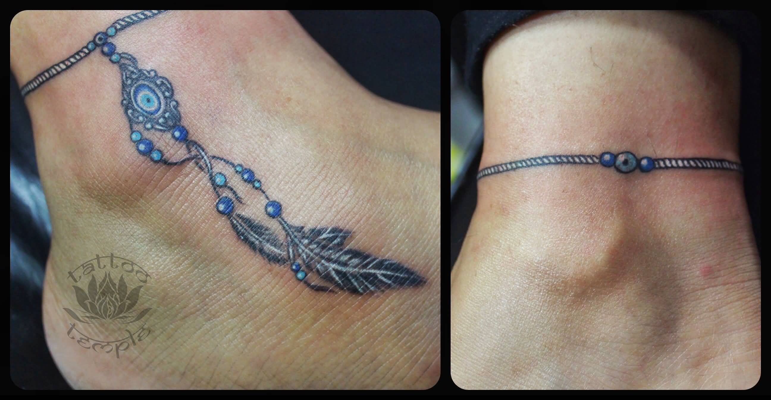 Feather And Turkish Eye Talisman Bracelet Tattoo On Ankle