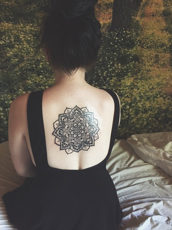 7aa9906d0 Floral Mandala Tattoo On Girl Upper Back