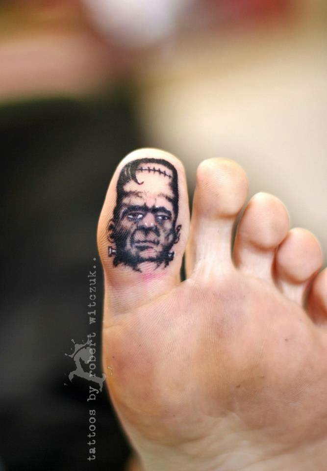 Frankenstein Bottom Toe Tattoo