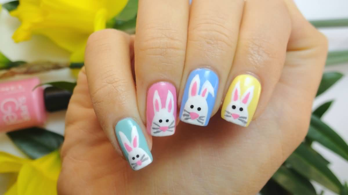 60 incredible easter nail art ideas gel easter bunny nail art prinsesfo Image collections