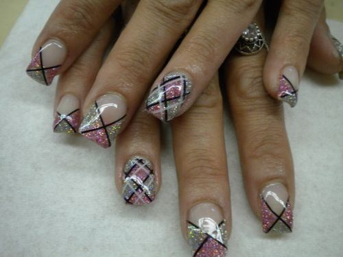 Glitter Gel Plaid Nail Art Design