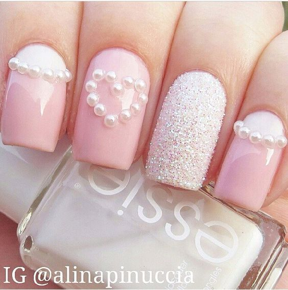 Glossy Pink Nails With Pearls Heart Design Nail Art
