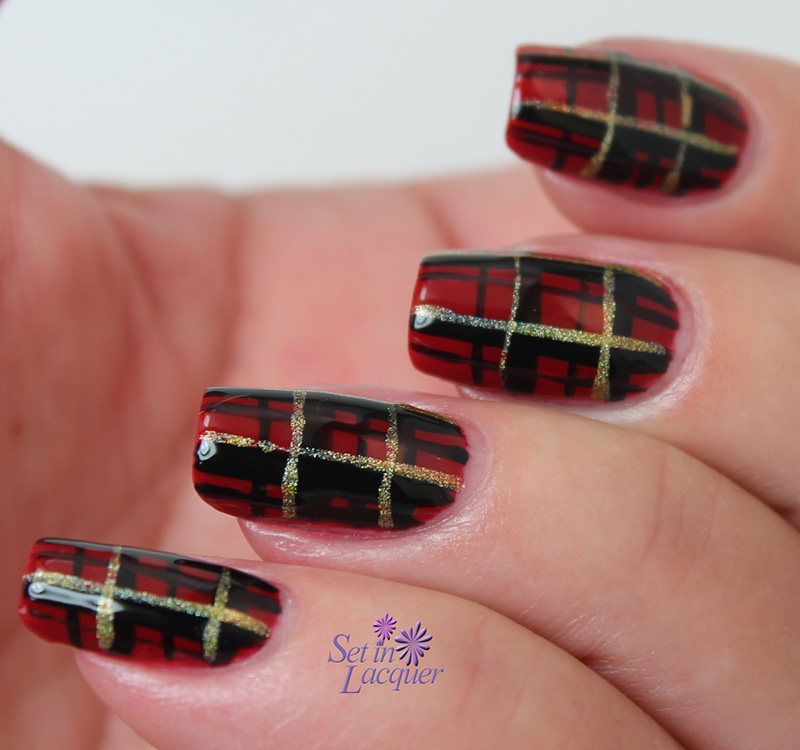 Glossy Red Black And Gold Glitter Plaid Print Nail Art