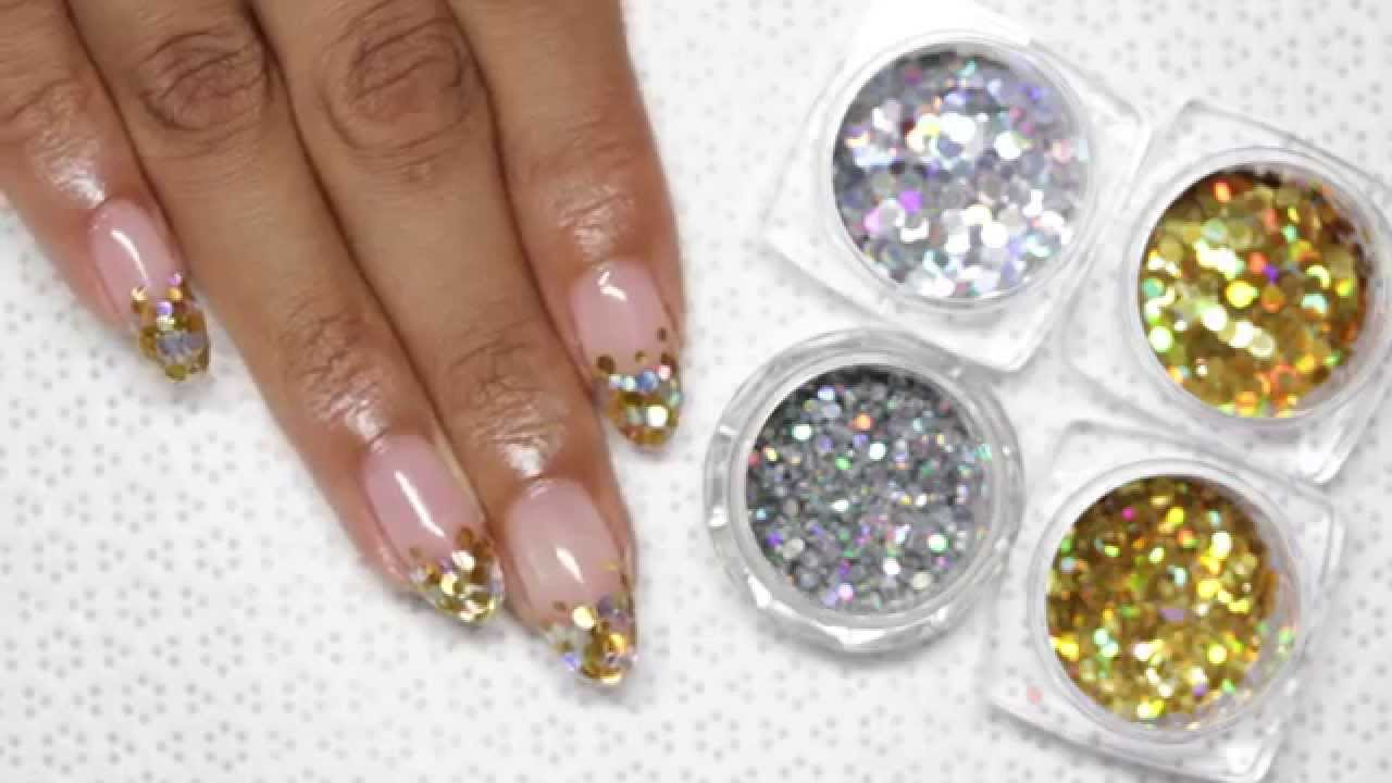 Gold Glitter Gel Tip Nail Art With Tutorial Video