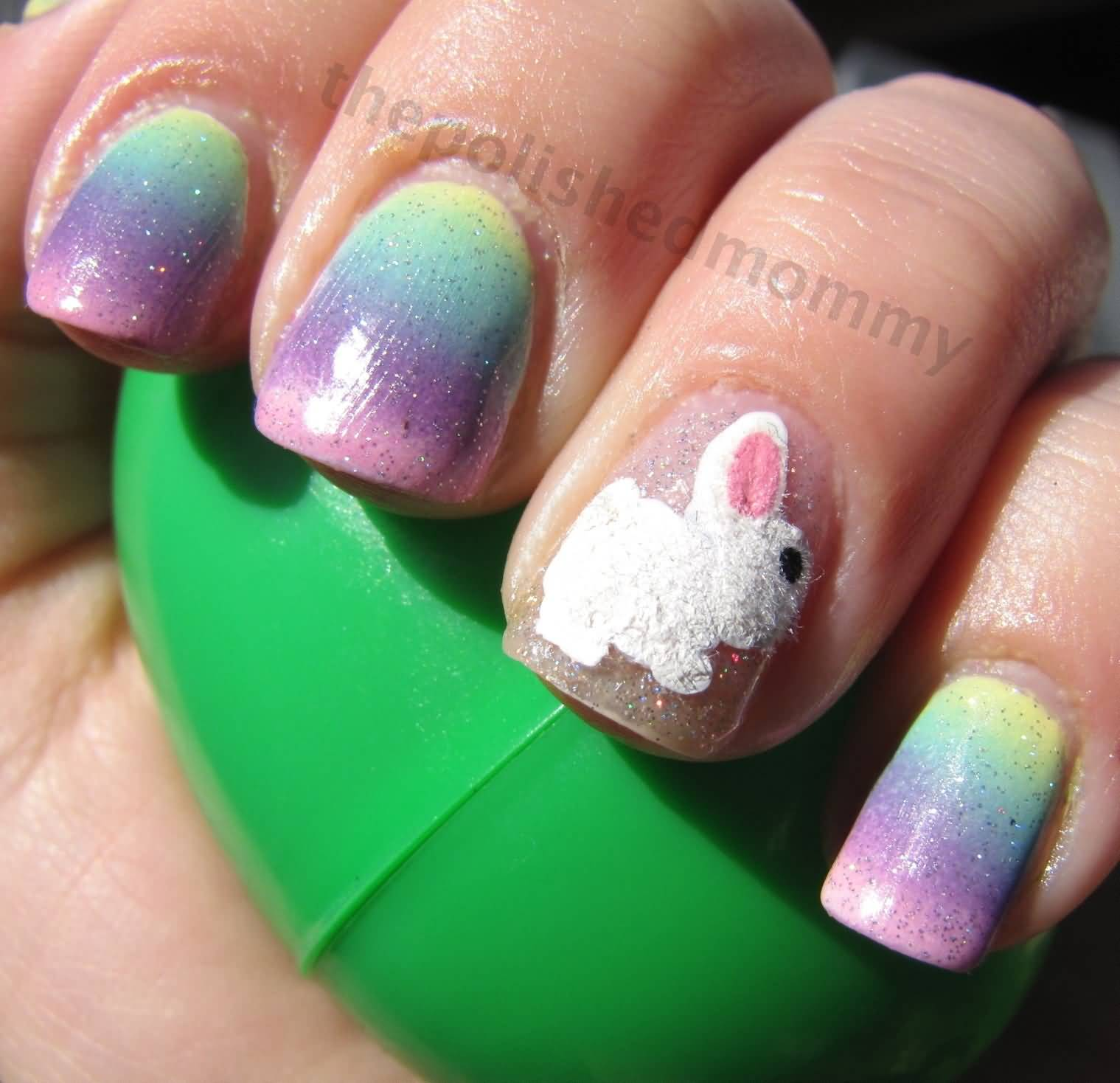 Gradient Nails With Accent Easter Bunny Nail Art