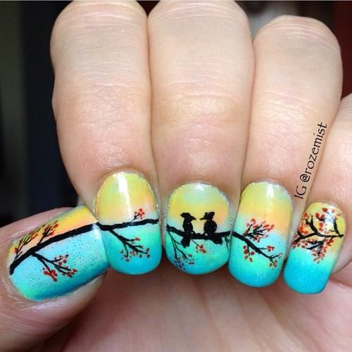 Gradient Spring Nail Art Design Idea