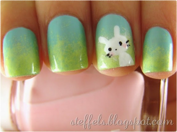 Gradient With Easter Bunny Nail Art