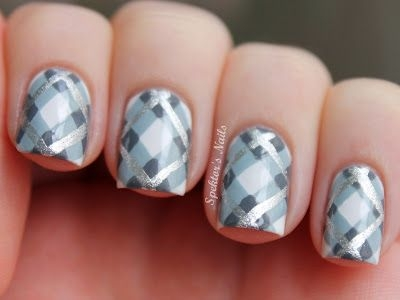 Gray And Silver Plaid Nail Art