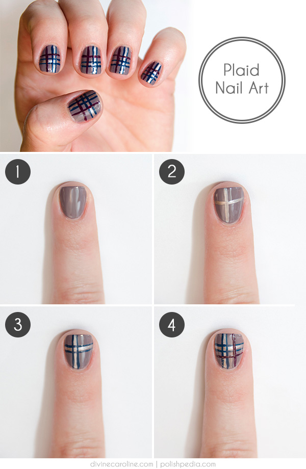 Gray Base Coat With Blue And Red Plaid Nail Art