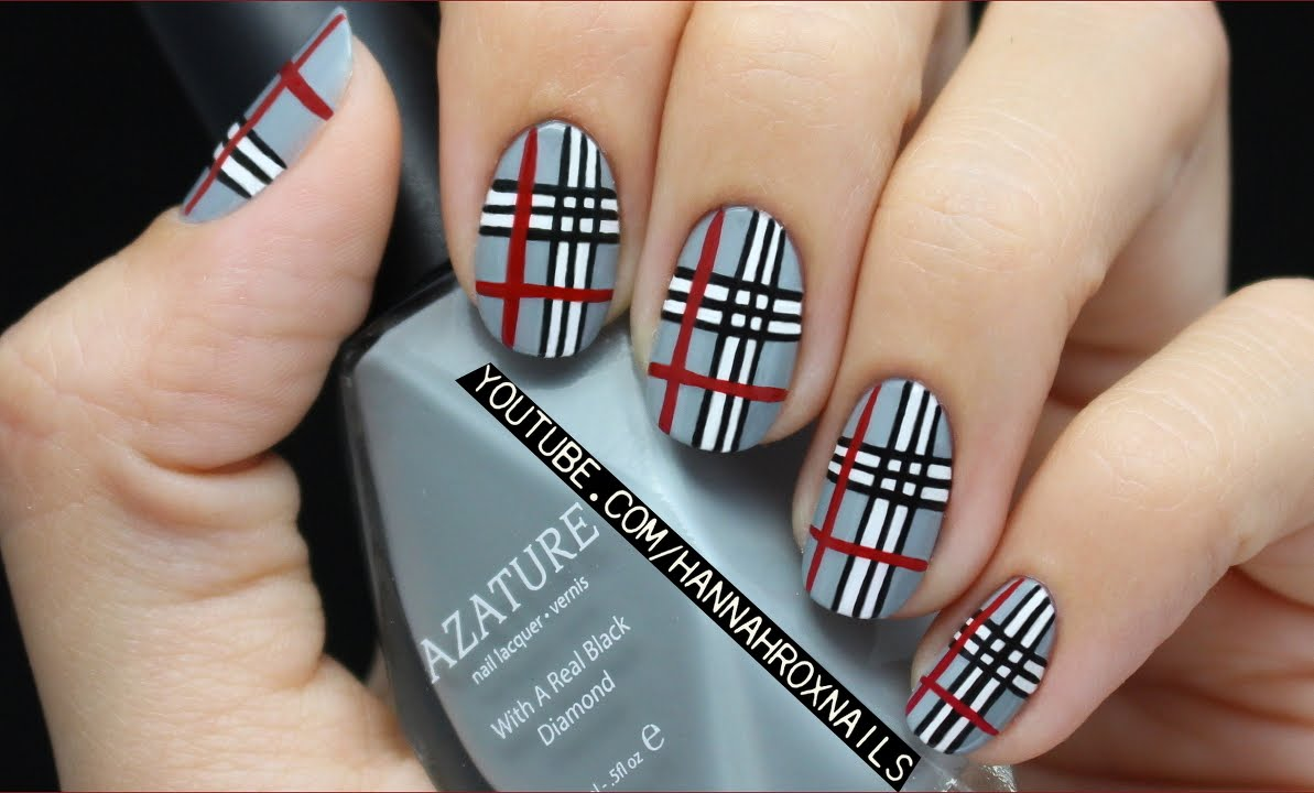 Gray Base Nails With Black White And Red Plaid Print Nail Art